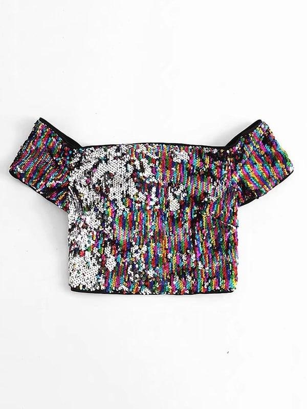 Off The Shoulder Sequin Crop Top white off the shoulder ruffled details crop top