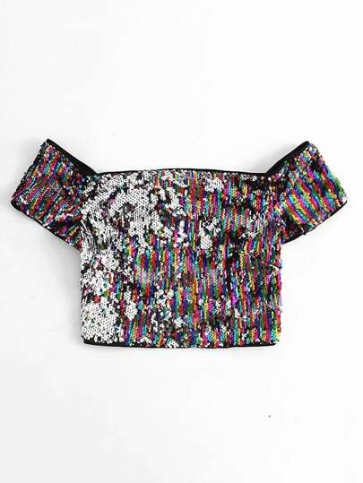 Off The Shoulder Sequin Crop Top