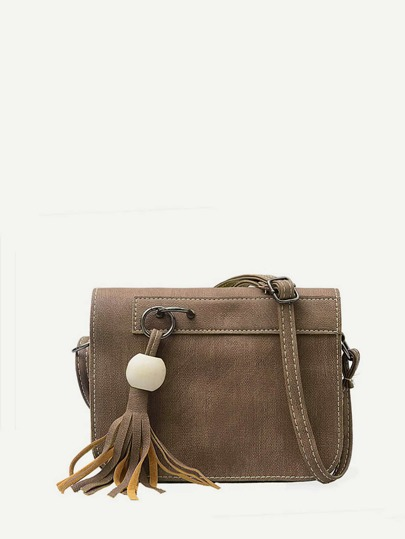 Tassel Detail Faux Leather Crossbody Bag