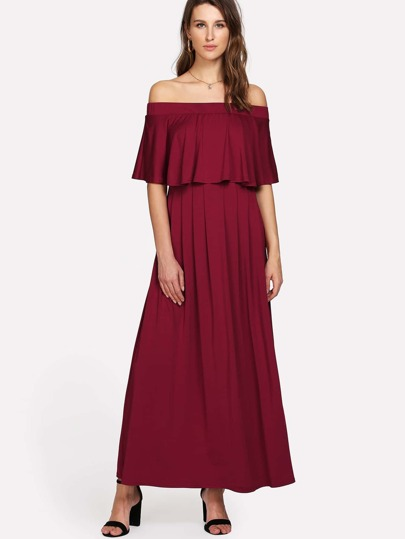 Flounce Layered Neckline Dress