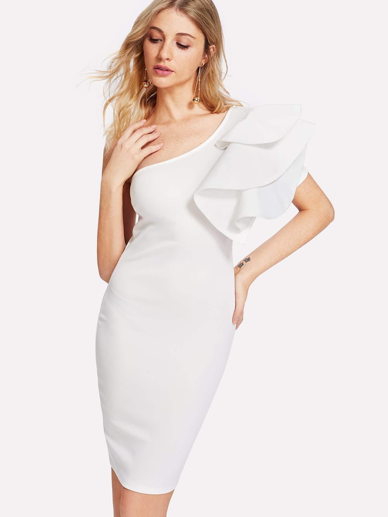 Exaggerate Ruffle One Shoulder Dress one shoulder ruffle embellished dress