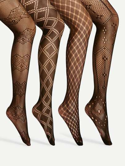 Geometric Pattern Tights 4pairs