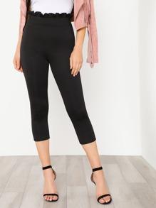 Frill Waist Skinny Capri Pants