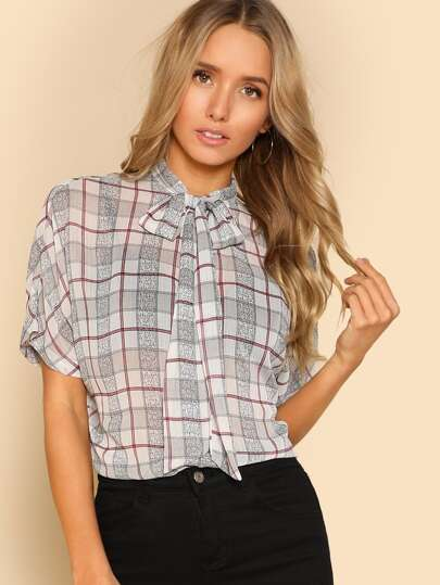 Tied Neck Plaid Dolman Blouse