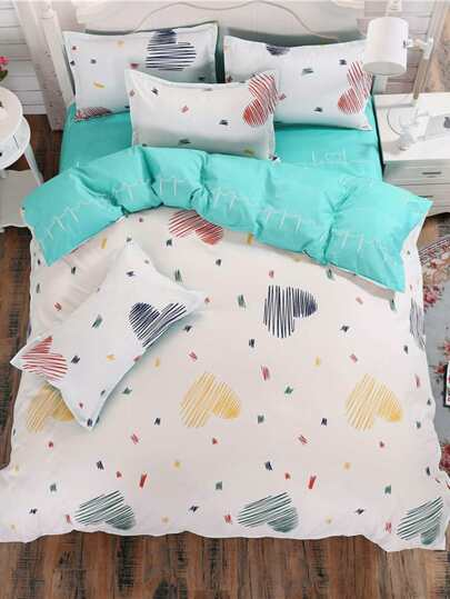 2.2m 4Pcs Heart Print Bedding Set