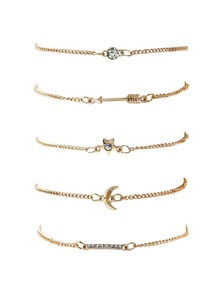 Star & Moon Charm Chain Bracelet Set