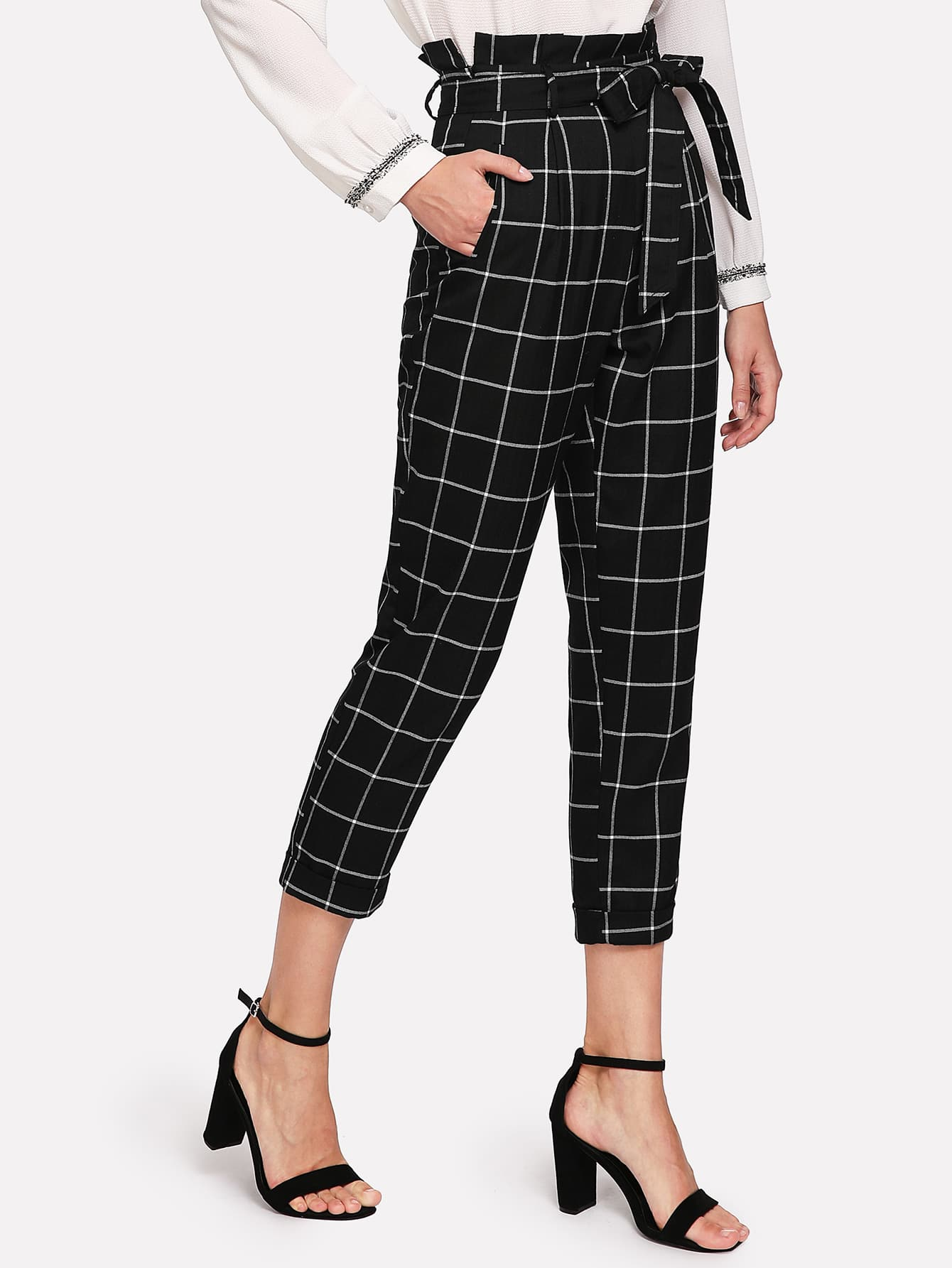 Self Belted Frilled Waist Grid Pants grid carrot pants