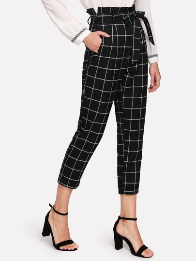 Self Belted Frilled Waist Grid Pants