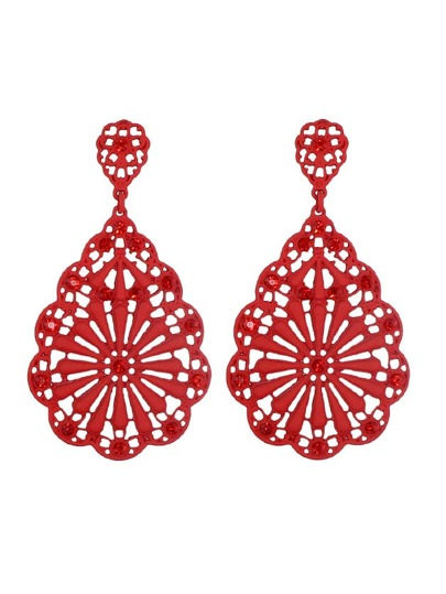 Red Rhinestone Hollow Out Dangle Earrings