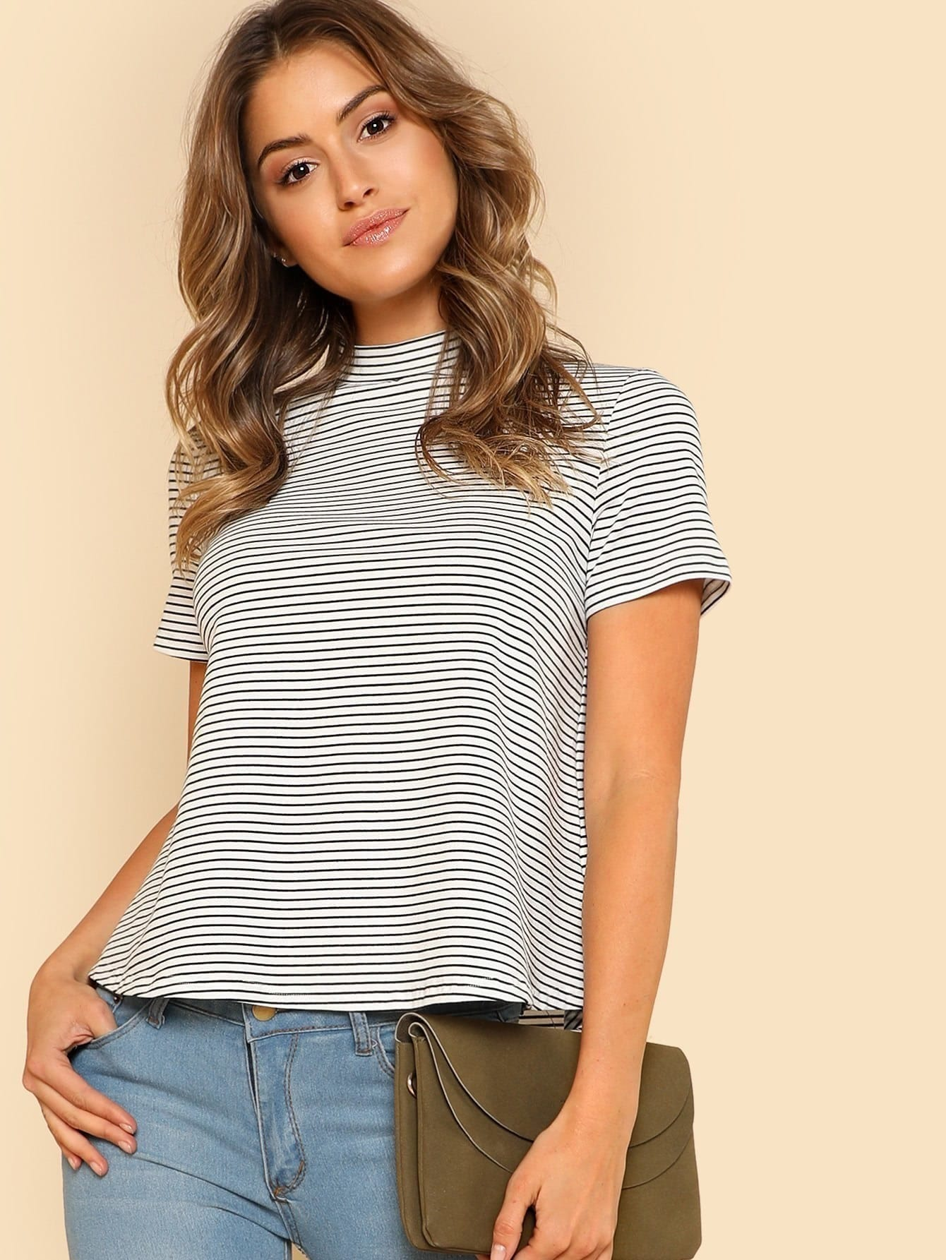 Mock Neck Striped Tee lace up mock neck tee
