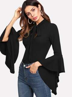 Tie Neck Exaggerate Asymmetrical Cuff Rib Knit Tee