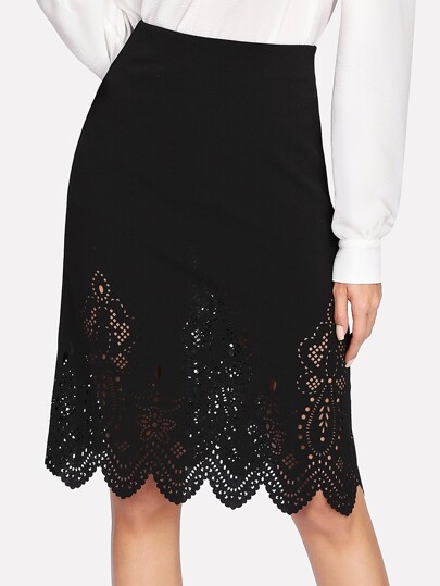 Scalloped Laser Cut Solid Skirt