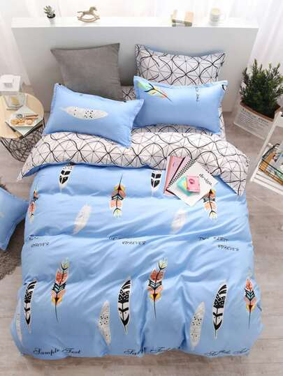 2.2m Feather & Letter Print Duvet Cover Set