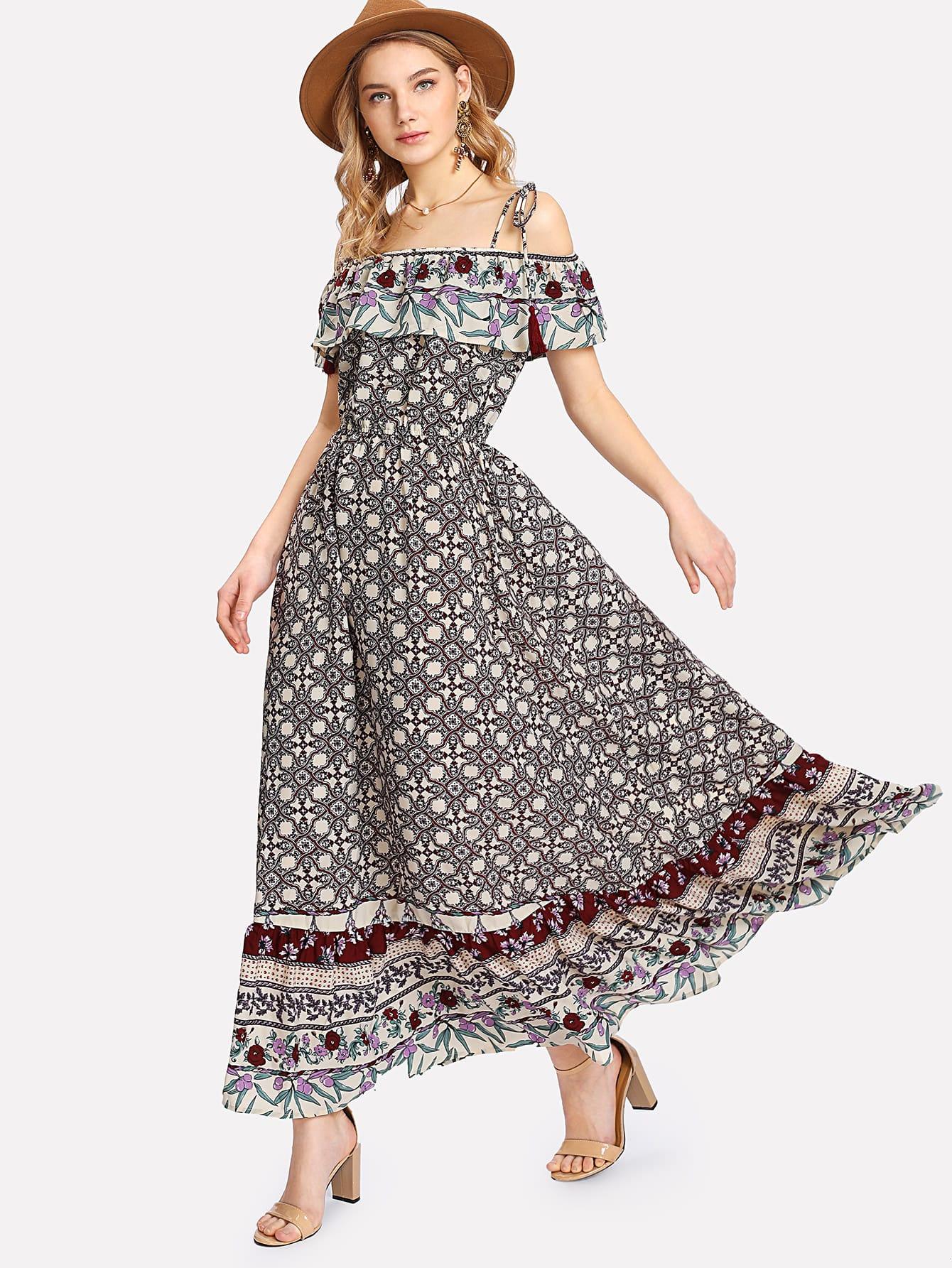Open Shoulder Ruffle Embellished Floral Dress one shoulder ruffle embellished dress
