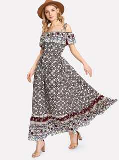 Open Shoulder Ruffle Embellished Floral Dress