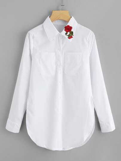 Dual Pocket Rose Embroidered Patch Shirt