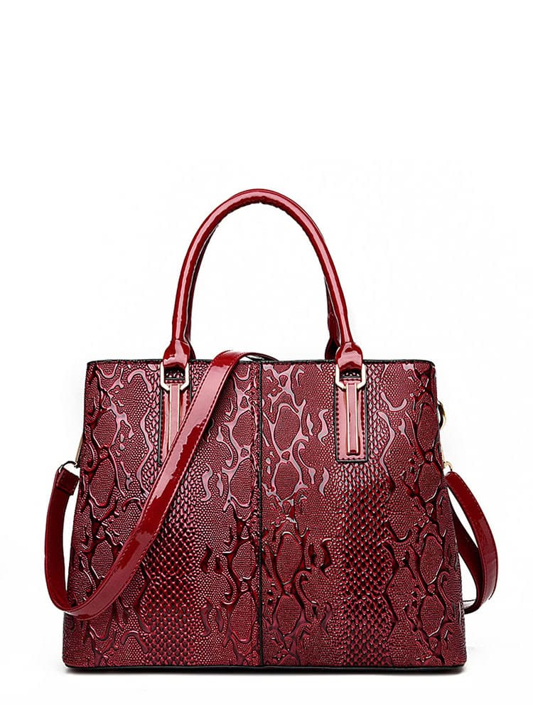 Croco Detail Patent Leather Tote Bag lucky john croco spoon big game mission 24гр 004