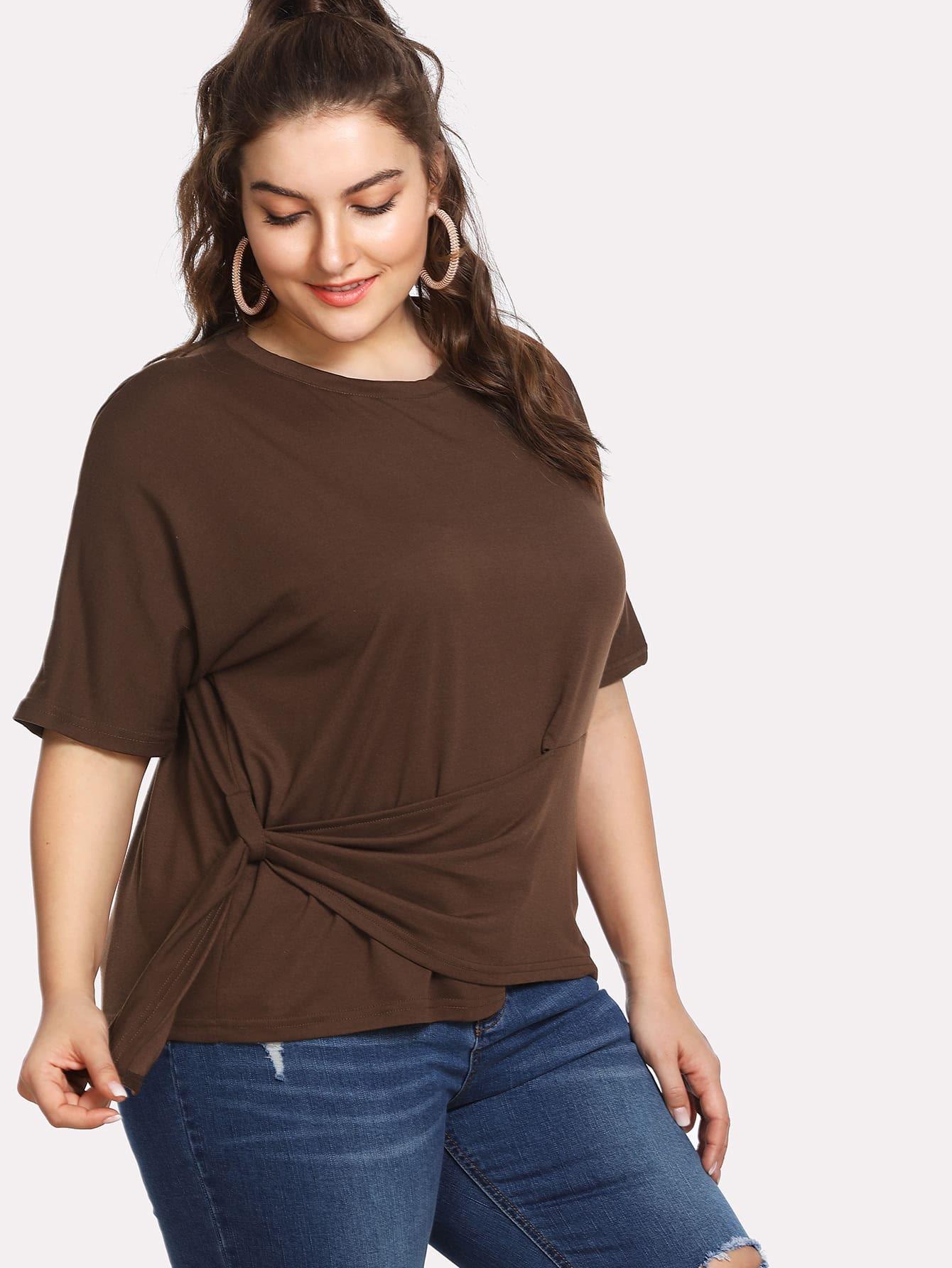 Plus Asymmetric Hem T-shirt