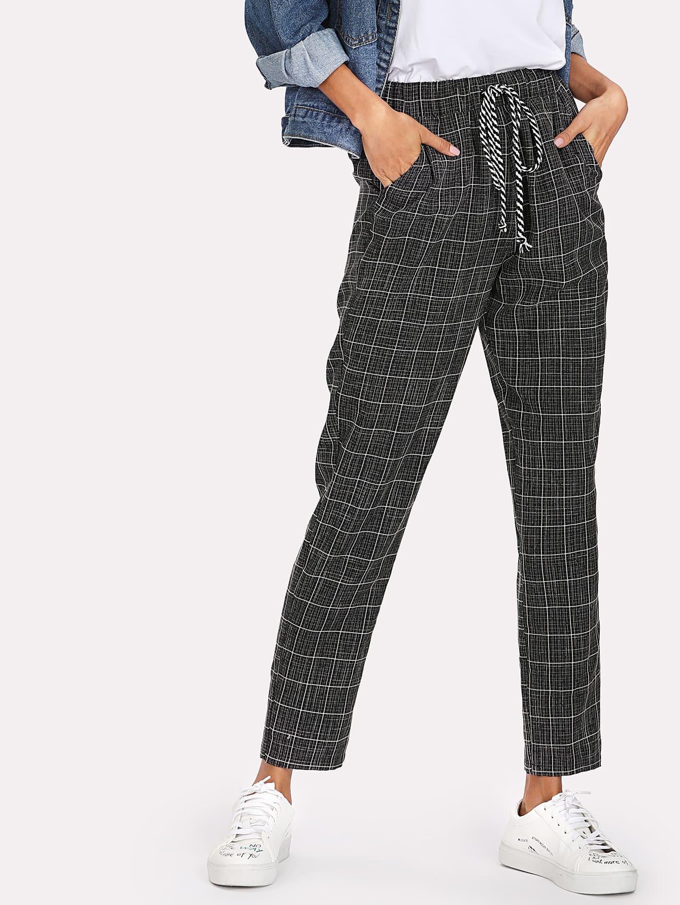 Купить Модные клетчатые брюки с карманами, Andy, SheIn