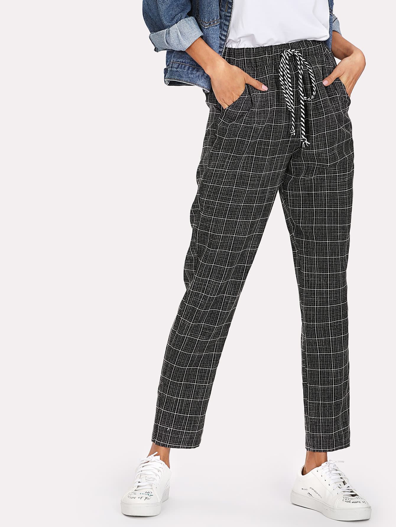 Pocket Side Grid Peg Pants grid carrot pants