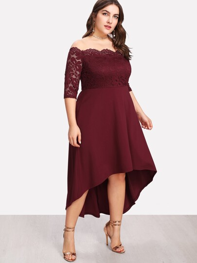 Lace Overlay Dip Hem Bardot Dress