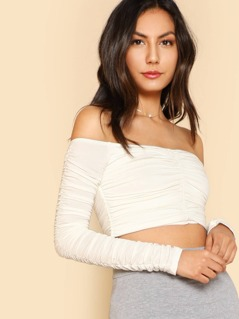 Ruched Off-Shoulder Crop Top IVORY