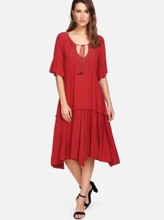 Tassel Tie Lace Applique Neck Tiered Hem Dress