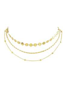 Gold Sequined Multi-Layer Necklace Collar