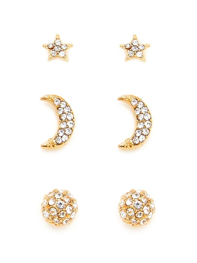 Moon & Star Design Earring Set