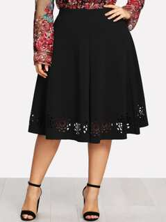 Plus Floral Laser Cut Skirt