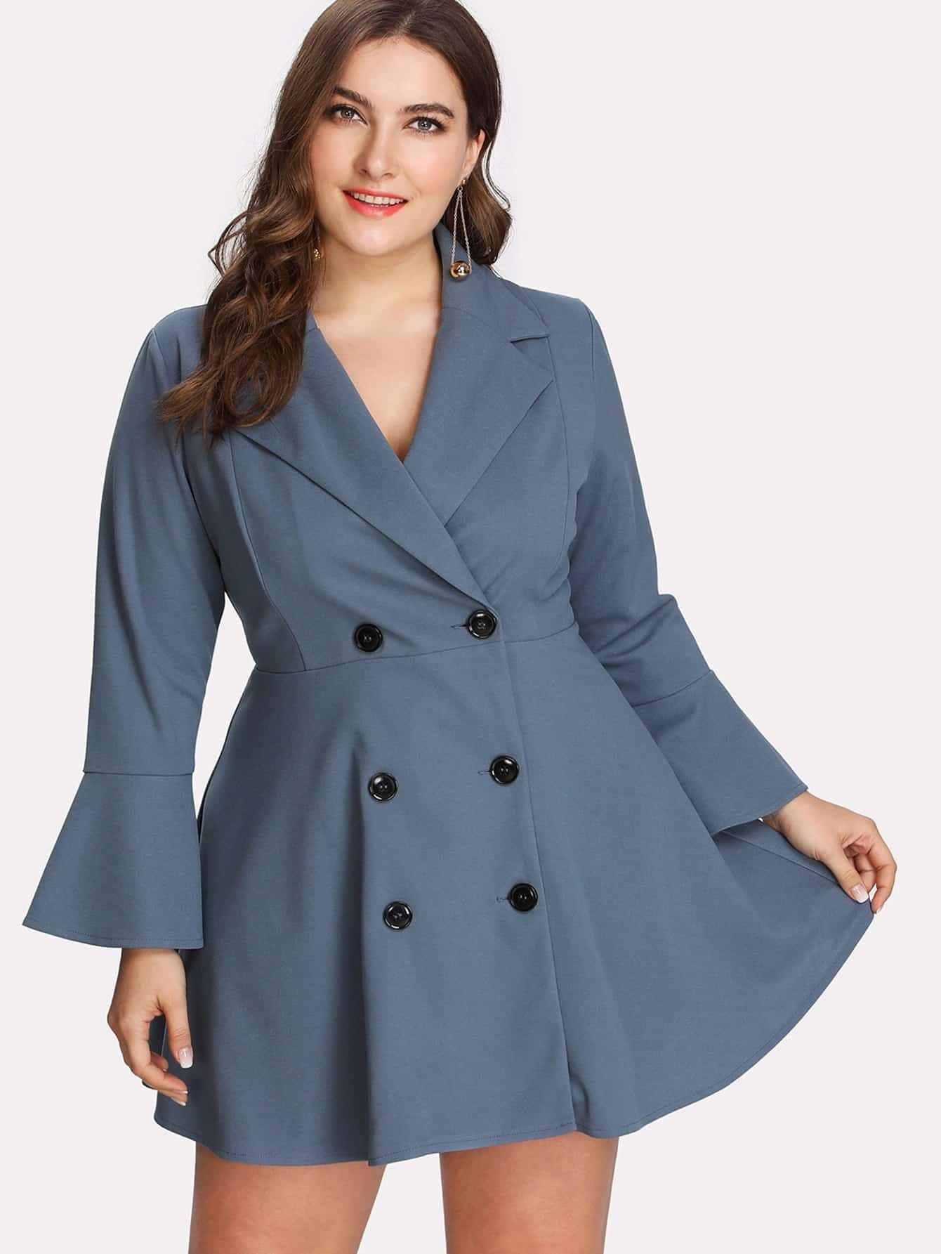 Flare Sleeve Double Breasted Coat