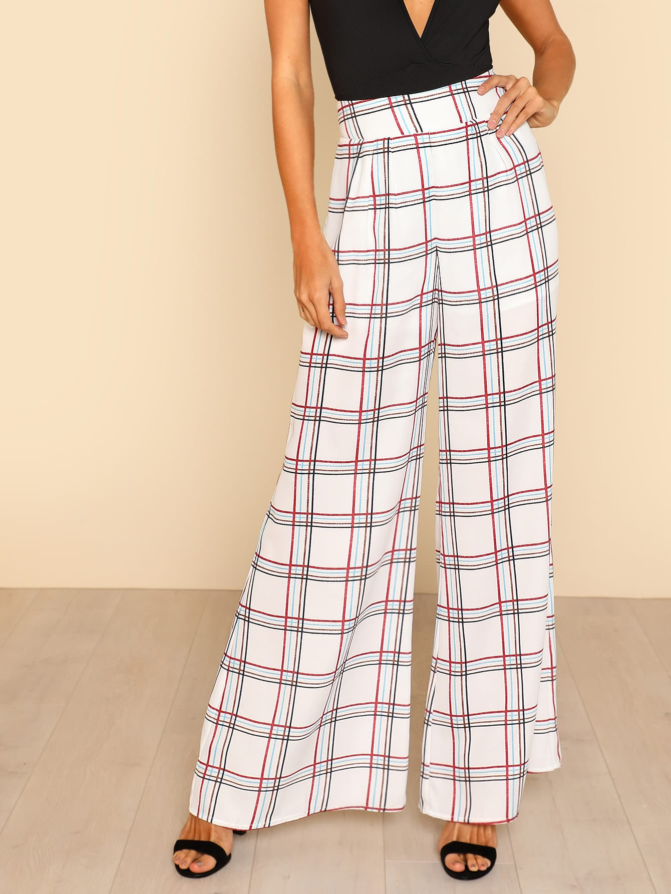 Grid Wide Leg Pants wide leg grid crop pants
