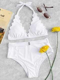 Scallop Halter Top With High-waist Bikini Set