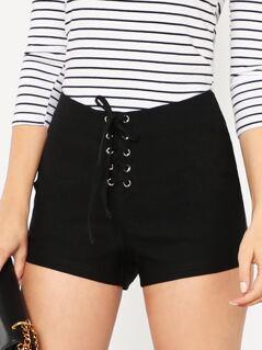Grommet Lace Up Front Zipper Shorts