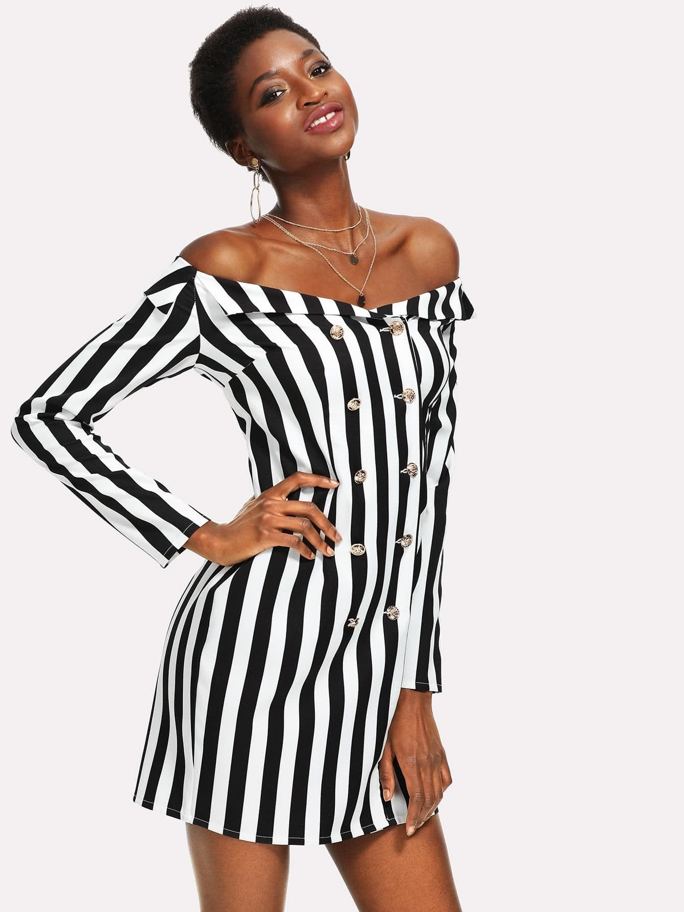 Foldover Off Shoulder Double Breasted Striped Dress cross front foldover off shoulder bodysuit