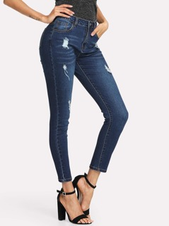 Dark Wash Ripped Jeans