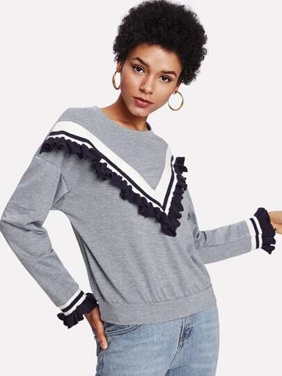 Ruffle Trim Chevron Sweatshirt