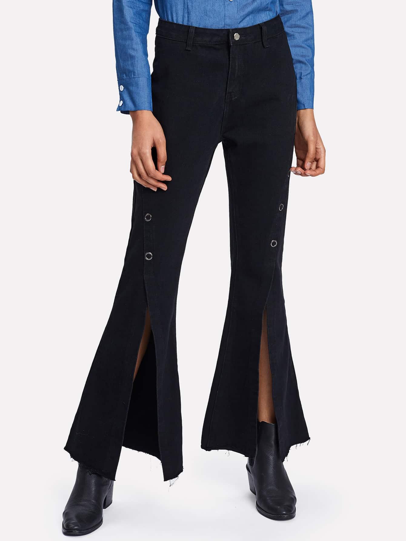 Grommet Split Flared Hem Jeans