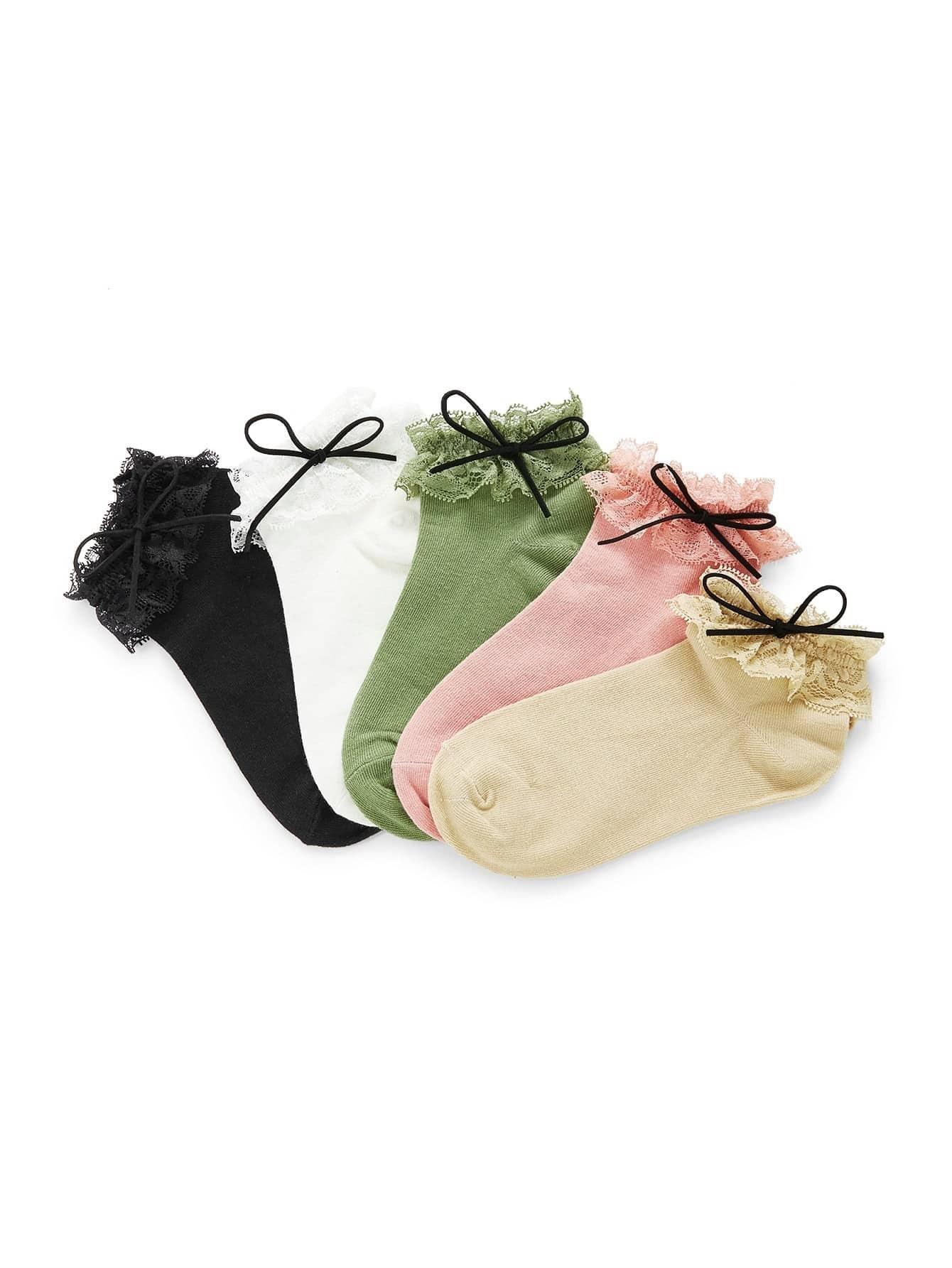 Lace Trim Bow Tie Socks 5pairs женские чулки 1 5pairs