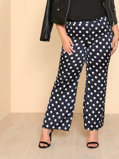 Polka Dot Print Wide Leg Pants