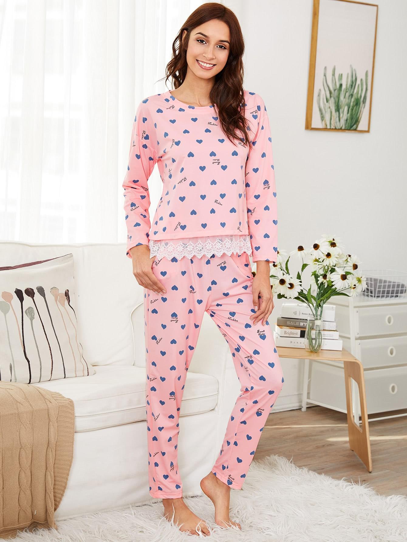 Купить Моднаяпижамаспринтомикружевнойвставкой, Gabi B, SheIn