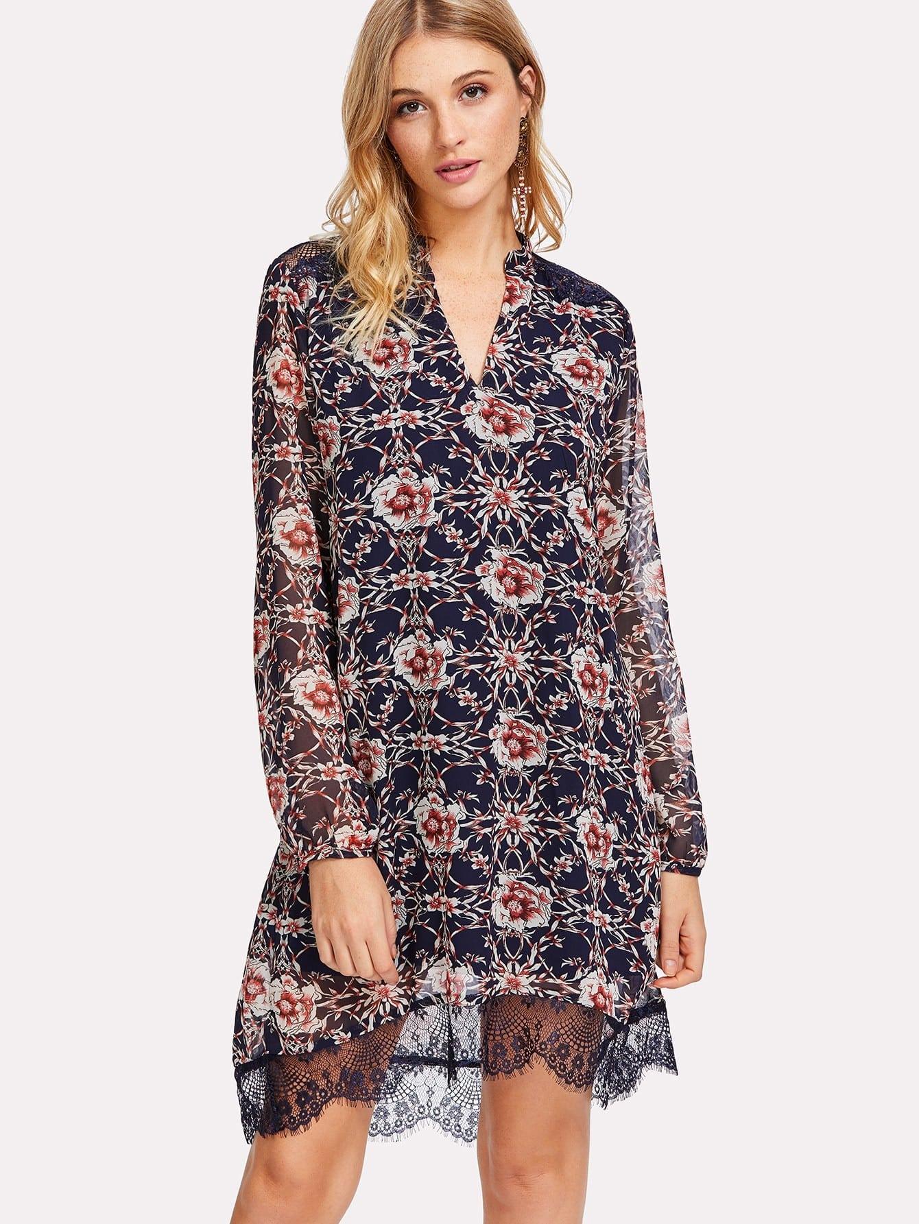 Lace Detail Cutout V Back Botanical Dress frill detail bishop sleeve tiered botanical dress