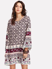Bell Sleeve Mixed Print Dress
