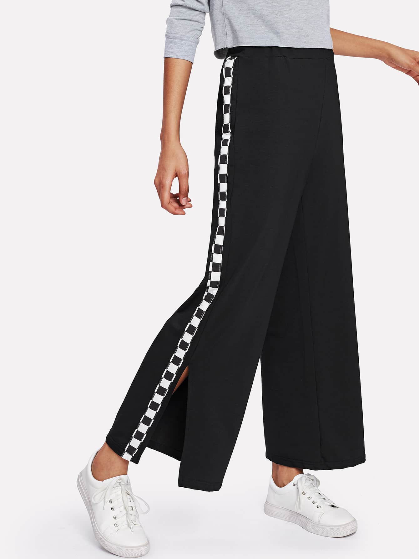 Checkered Tape Detail Split Side Wide Pants