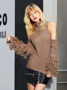 Fringe Sleeve Open Shoulder Sweater