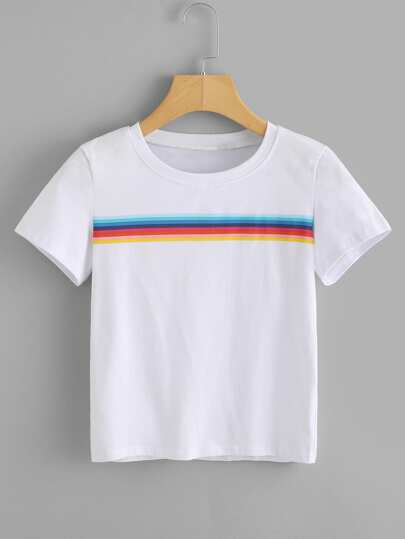 Rainbow Stripe Panel Tshirt