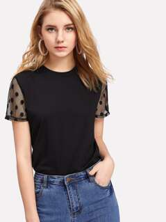 Polka Dot Mesh Panel Sleeve Tee
