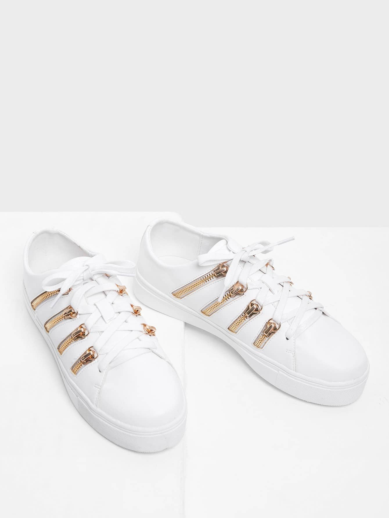 все цены на Zipper Side Design Lace Up Sneakers