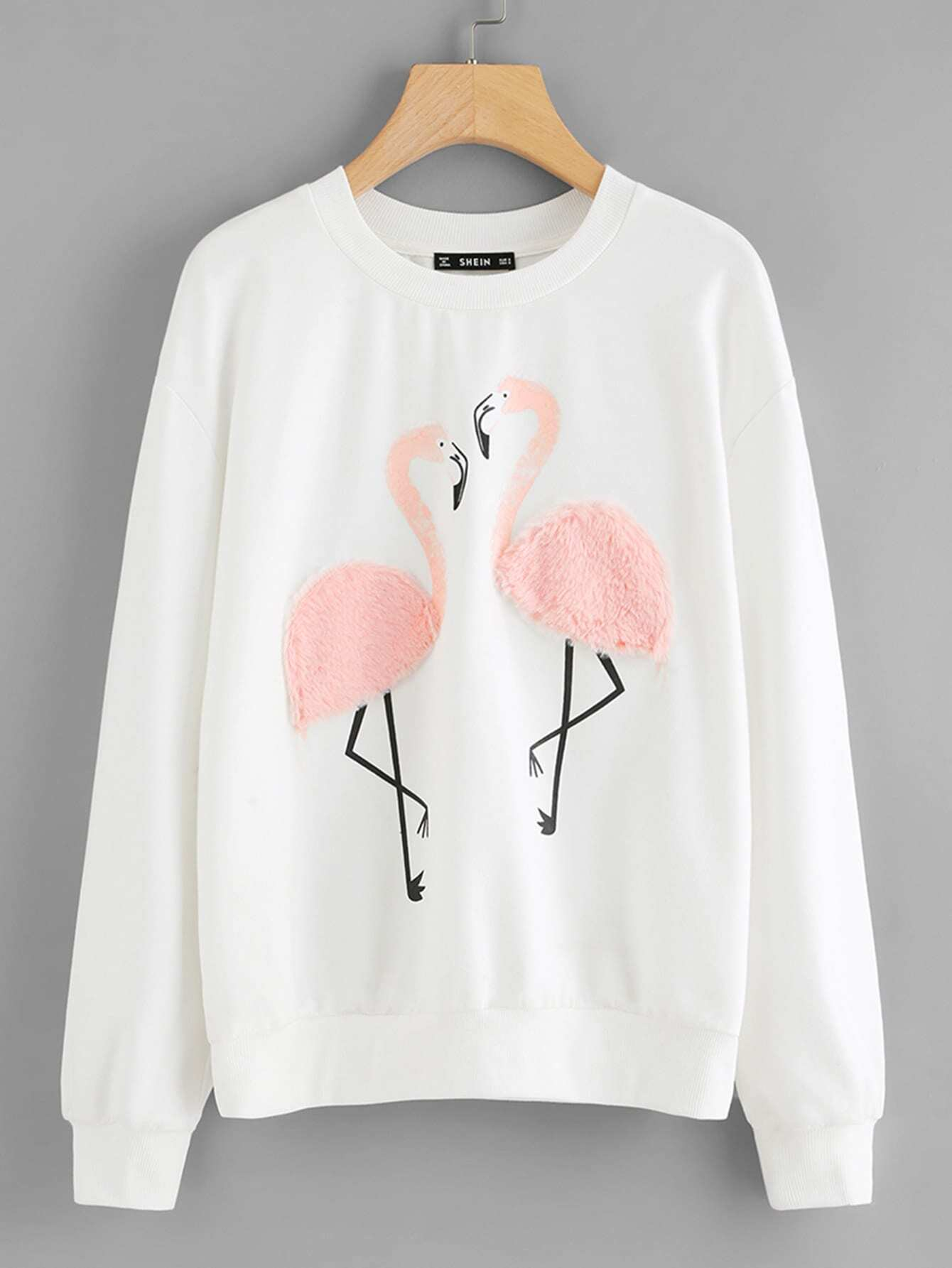 Faux Fur Flamingo Sweatshirt faux fur cuff drop shoulder raw hem sweatshirt