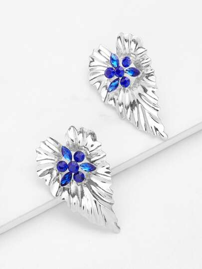 Rhinestone Detail Leaf Shaped Stud Earrings